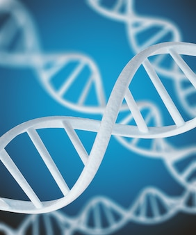 White dna structure isolated background.