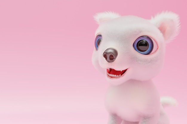 White dog are happy on pink background and copy space for your text. 3d render.
