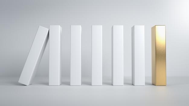 골든 블록에 떨어지는 흰색 도미노 조각