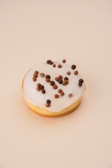 White donut with flakes isolated