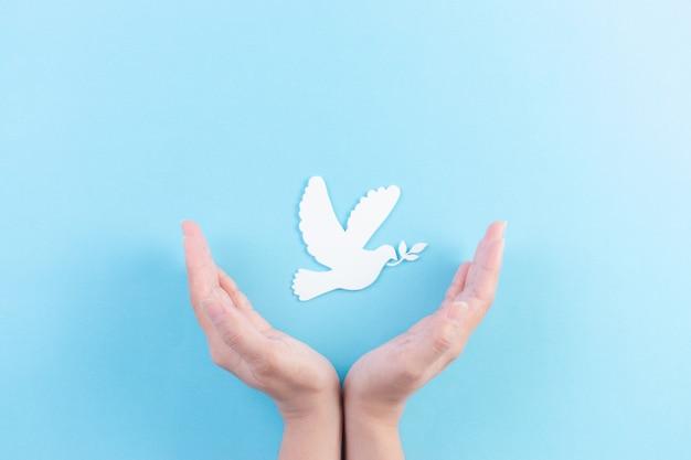 Белый голубь из бумаги, вырезанный на день мира. рука прикрывает белого голубя в воздухе.