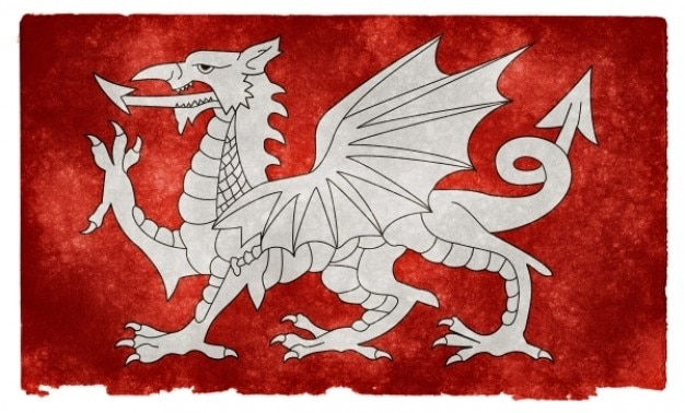 White dragon of england grunge flag