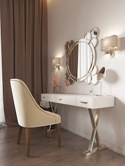 White dressing table with decor, mirror and sconces on the wall. white soft chair. 3d rendering.