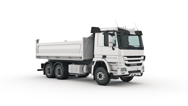 흰색 덤프 트럭 3d 렌더링