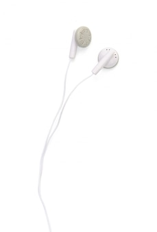 White earphones isolated on white with clipping path