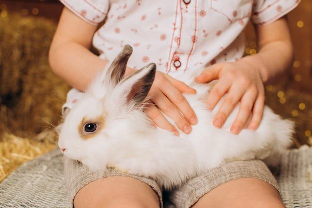 어린 소년의 다리에 앉아 있는 흰색 부활절 토끼