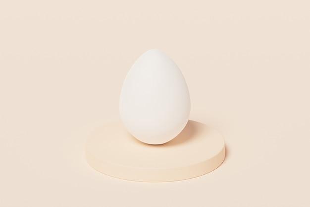 Белое пасхальное яйцо на бежевом подиуме, весенние апрельские праздники, изометрическая 3d визуализация