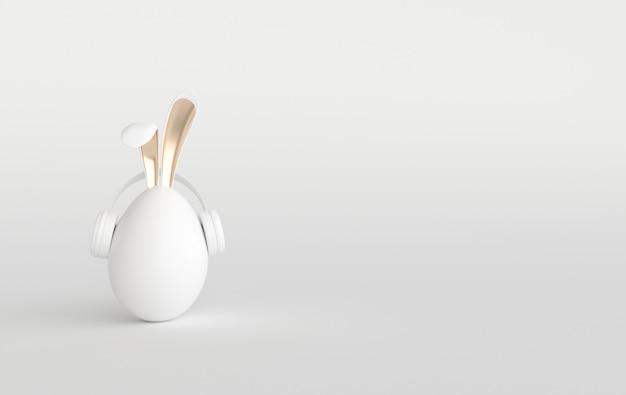 White easter egg with rabbit ears on white. happy easter big hunt or sale banner