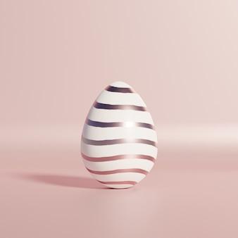 Белое пасхальное яйцо с полосатым узором из розового золота на розовой стене, весенние апрельские праздники, 3d визуализация