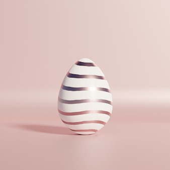 White easter egg with rose gold striped pattern on pink wall, spring april holidays card, 3d illustration render