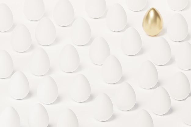 Белые пасхальные яйца и одно яйцо, украшенное золотом, весенняя апрельская праздничная открытка, изометрическая 3d визуализация