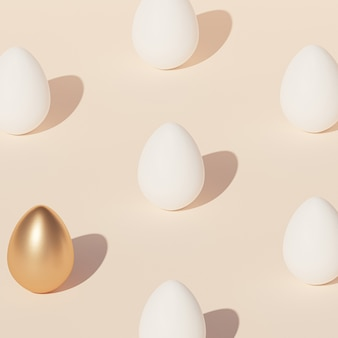 White easter eggs pattern and one egg decorated with gold, beige wall, spring april holidays , isometric 3d illustration render
