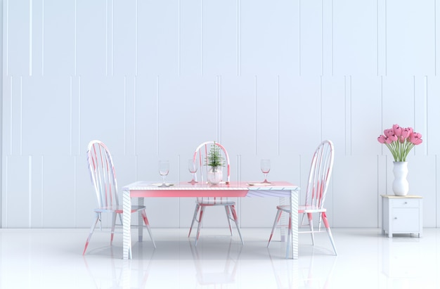 White eating roomof love on valentine's day. new year. 3d render.