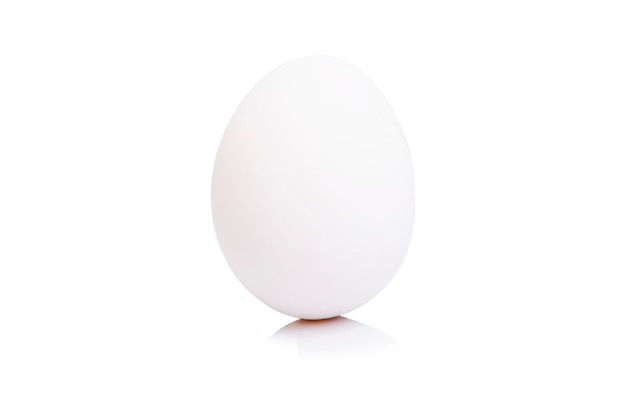 White egg on an isolated white wall. close-up. space for text.