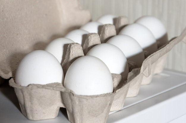 White egg organic carton package, close up view.