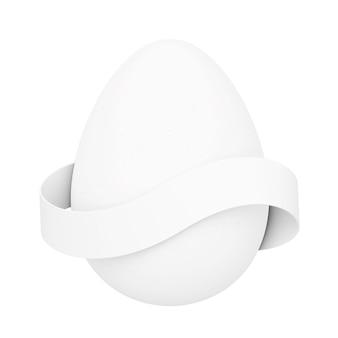 Белое яйцо с пустой лентой для вашего знака на белом фоне. 3d-рендеринг.