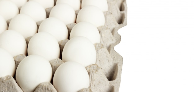 White eggs pack isolated on white