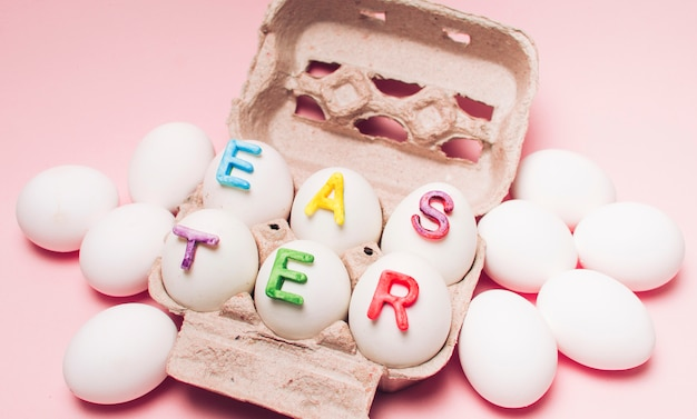 White eggs with word easter
