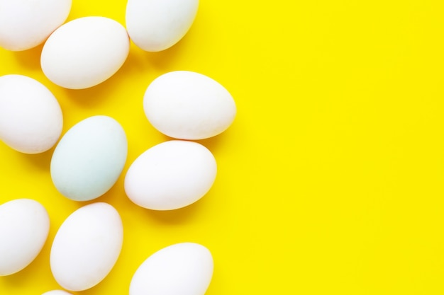 White eggs on yellow.