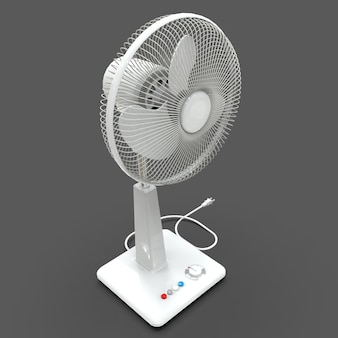 White electric fan. three-dimensional model on a gray background. fan with control buttons on the stand. a simple device for air ventilation. 3d illustration.