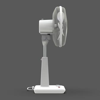 Белый электровентилятор. трехмерная модель на сером фоне. вентилятор с кнопками управления на подставке. простое устройство для вентиляции воздуха. 3d иллюстрации.