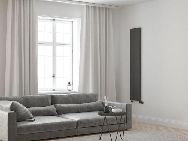 Белая элегантная и стильная гостиная с бархатным диваном и белыми шторами