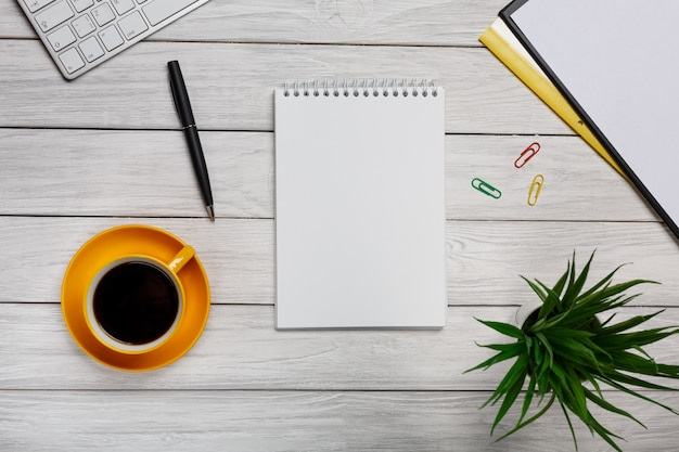 White elegant desktop from above - business tools - office design - studio shot - top view