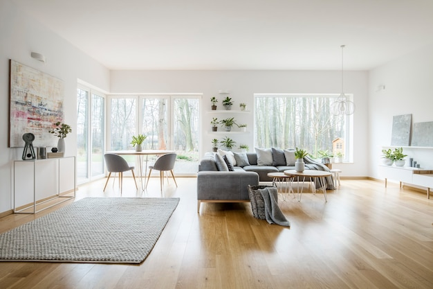 窓、灰色のコーナーソファ、モダンアートのポスターが付いた白いエレガントなリビングルームのインテリア
