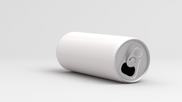 White empty can on white background 3d render