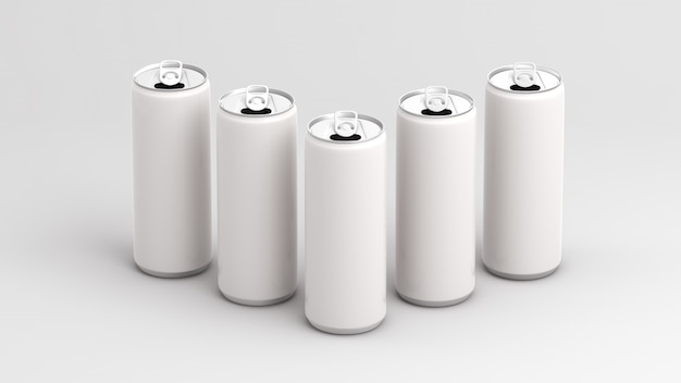 White empty cans on white background 3d render