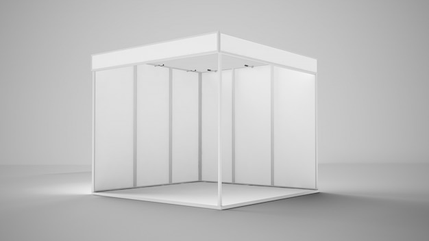 White empty exhibition booth