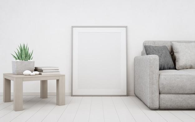 コンクリートの壁と木製の床に白い空のフレーム