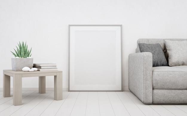 White empty frame on wooden floor with concrete wall