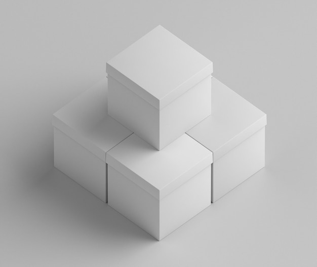 White empty gift cardboard boxes