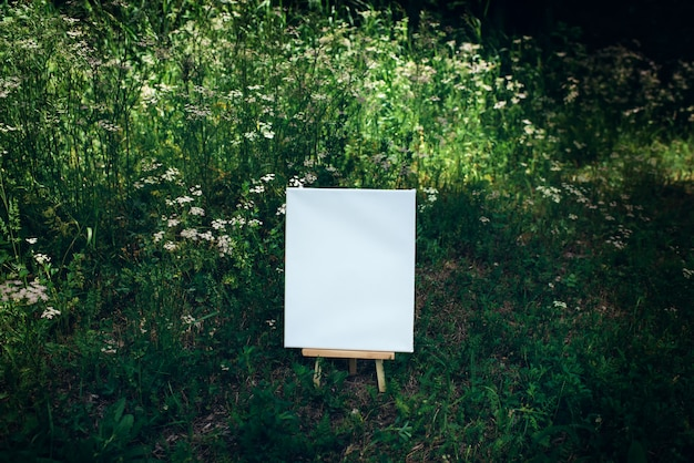 White empty mockup template poster canvas