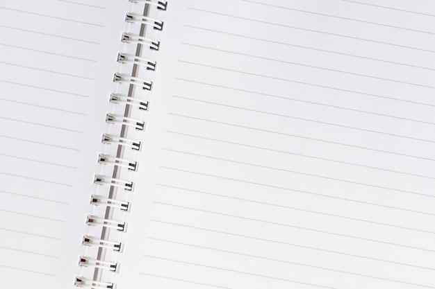 White empty paper spiral notebook