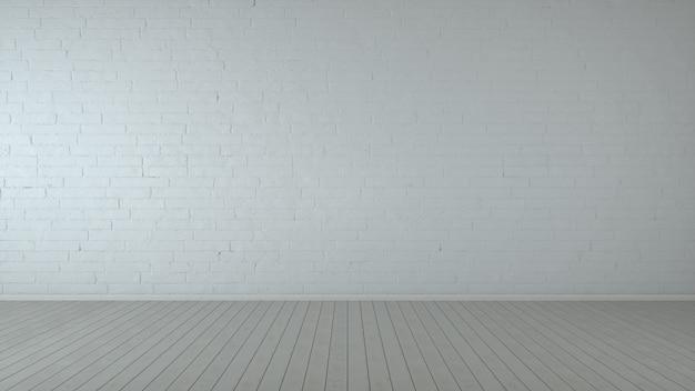 木製の床とレンガの壁の白い空の場所。 3dレンダリング。