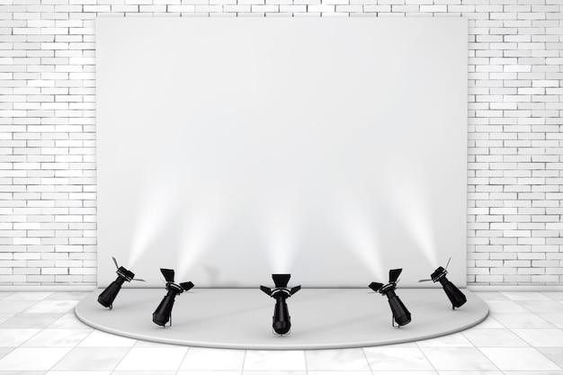 벽돌 벽 앞에 무대 조명이 있는 흰색 빈 연단. 3d 렌더링.