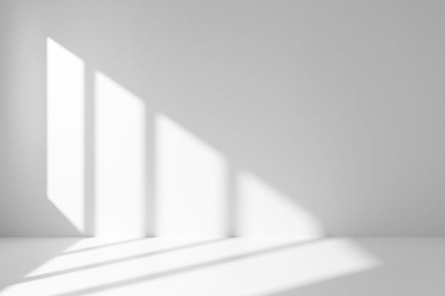 빛과 그림자와 함께 흰색 빈 방 인테리어