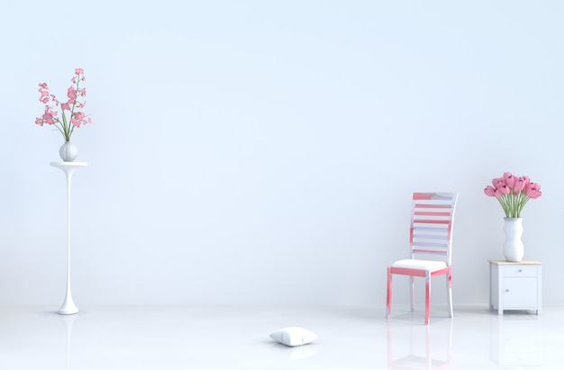 White empty room with chair,cement wall,tiles,tulip. valentine's day, new year. 3d render.
