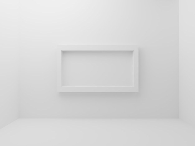 White empty room with mockup photo frame border in middle of wall background