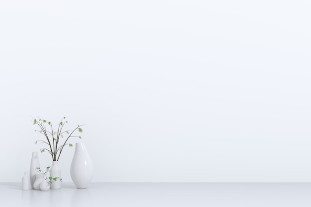 White empty room with plant.3d rendering, 3d illustration