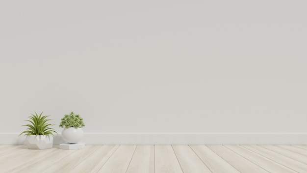 White empty room with plants on a floor