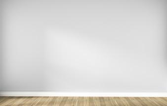 木製の床と白い空スカンジナビアの部屋のインテリア。 3Dレンダリング