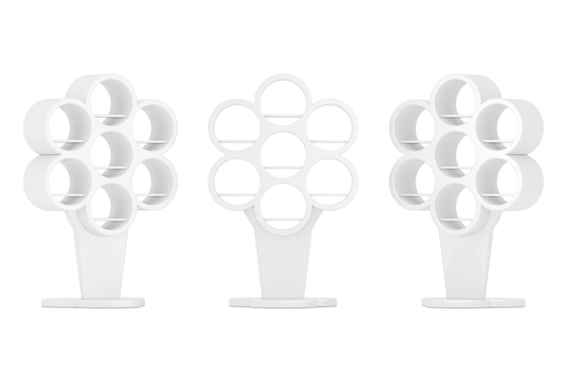 흰색 바탕에 나무 모양으로 소매 선반이 있는 흰색 빈 쇼케이스 디스플레이. 3d 렌더링.