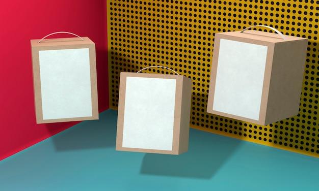 Scatole di cartone semplicistiche vuote bianche con lo spazio della copia
