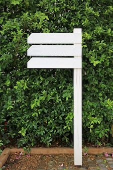 White empty wooden signboard in the garden with blank area for text.