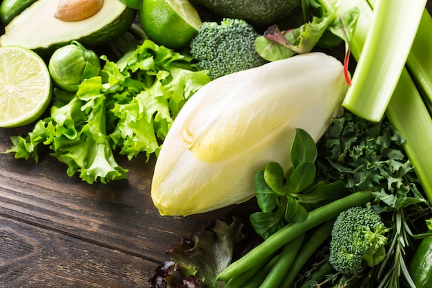 White endive with assorted green vegetables