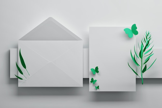 White envelope and greeting invitation card with butterflies