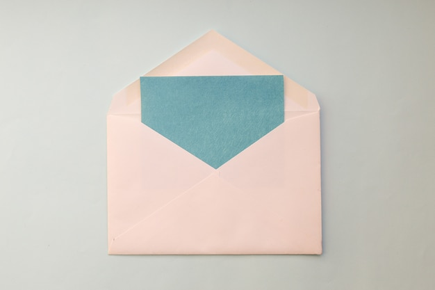 White envelope with blue card